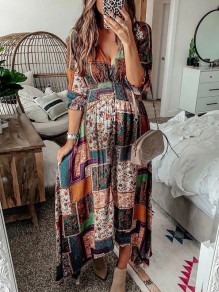 Orange Floral V-neck Elbow Sleeve Bohemian Beach Maxi Dress