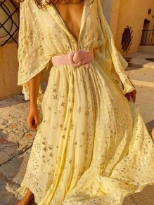 Light Yellow Stars Sequin V-neck Prom Evening Party Maxi Dress