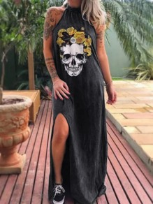 Black Skeleton Print Slit Halter Neck Sleeveless Beach Maxi Dress