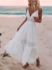 White Patchwork Lace Cut Out V-neck Sleeveless Fashion Maxi Dress