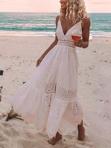 Pink Patchwork Lace Cut Out V-neck Sleeveless Fashion Maxi Dress