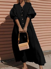 Black Button Single Breasted Puff Sleeve Elegant Maxi Dress