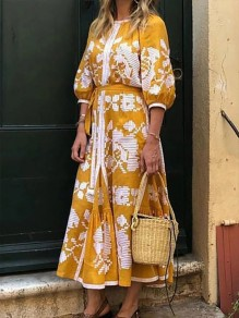 Yellow Floral Round Neck Elbow Sleeve Bohemian Beach Maxi Dress