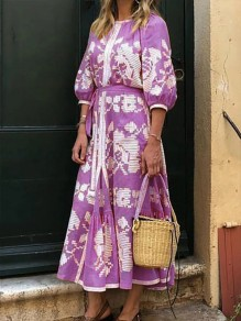 Purple Floral Round Neck Elbow Sleeve Bohemian Beach Maxi Dress
