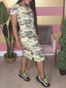 Green Camouflage Print Pockets Round Neck Short Sleeve Slit Casual Maxi Dress