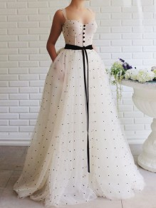 White Polka Dot Patchwork Grenadine Buttons Belt Spaghetti Strap Pleated Tutu Prom Evening Party Maxi Dress