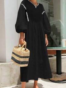 Black V-neck Long Sleeve Lantern Sleeve Elegant Maxi Dress