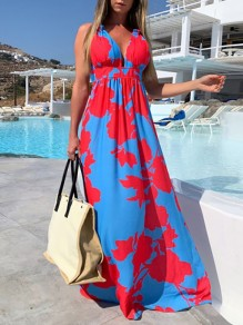 Blue Red Floral V-neck Sleeveless Fashion Maxi Dress