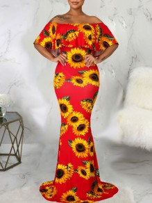 Red Sunflower Print Off Shoulder Short Sleeve Bodycon Mermaid Prom Evening Maxi Dress