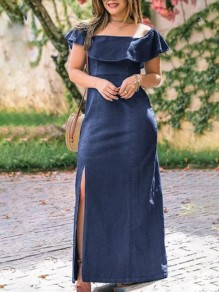 Blue Ruffle Off Shoulder Short Sleeve Denim Slit Maxi Dress