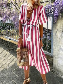 Red White Striped Print Single Breasted V-neck Short Sleeve Maxi Dress