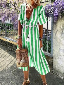 Green White Striped Print Single Breasted V-neck Short Sleeve Maxi Dress