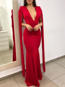 Red Deep V-neck Slit Long Sleeve Bodycon Mermaid Prom Maxi Dress