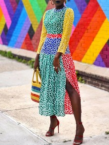 Green Rainbow Leopard Print Round Neck Puff Long Sleeve Slit Pleated Maxi Dress