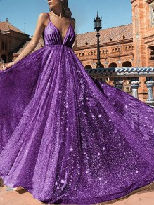 Purple Patchwork Sequin Grenadine Shoulder-Strap V-neck Sleeveless Big Swing Glitter Sparkly Birthday Party Prom Maxi Dress