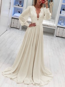 Beige Patchwork Lace Grenadine Lantern Sleeve Flowy Chiffon Wedding Bridesmaid Maxi Dress