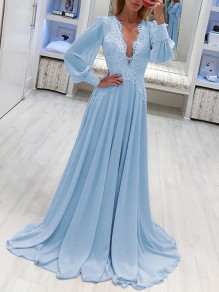 Sky Blue Patchwork Lace Grenadine Lantern Sleeve Flowy Chiffon Wedding Bridesmaid Maxi Dress
