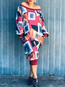 Red Geometric Print Pockets Off Shoulder Long Sleeve Oversized Casual Maxi Dress