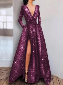 Purple Sequin Pockets Belt Slit Long Sleeve Glitter Sparkly Birthday Party Prom Maxi Dress