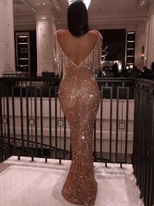 Golden Patchwork Sequin Tassel Backless Long Sleeve Mermaid Glitter Sparkly Party Prom Maxi Dress