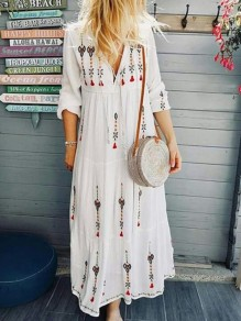 White Floral Mexico Embroidered Print Drawstring V-neck Long Sleeve Flowy Bohemian Midsommar Costume Maxi Dress