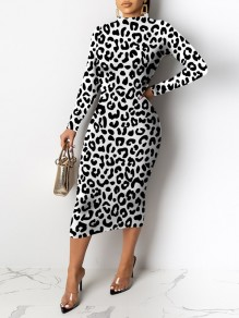 Black-White Cow Print Round Neck Long Sleeve Hip Bodycon Maxi Dress