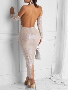 White Sequin Print Off Shoulder Backless Slit Bodycon Clubwear Glitter Sparkly Birthday Party Maxi Dress