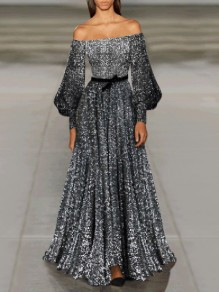 Silver Sequin Off Shoulder Lantern Sleeve Pleated Glitter Sparkly Birthday Party Prom Maxi Dress