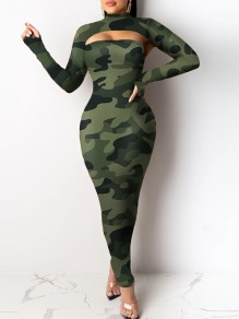 Green Camouflage Print Bandeau Cut Out Band Collar Long Sleeve Hip Bodycon Maxi Dress