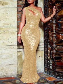 Golden Sequin Cut Out Asymmetric Shoulder Sleeveless Glitter Sparkly Birthday Party Mermaid Prom Maxi Dress