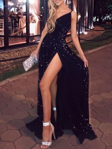 Black Sequin Slit Glitter Sparkly Backless Elegant Maxi Dress