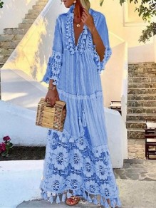 Light Blue Patchwork Tassel Lace Eyelet Embroidered V-neck Elbow Sleeve Bohemian Flowy Maxi Dress
