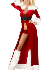 Red Belt Fur Collar Deep V-neck Christmas Costume Party Slit Long Sleeve Maxi Dress