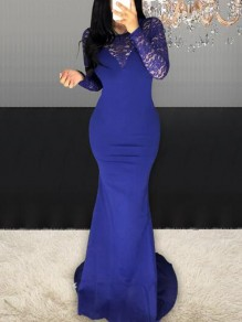 Cobalt Blue Patchwork Lace Long Sleeve Mermaid Banquet NYE Party Maxi Dress