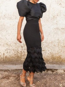 Black Patchwork Tassel Puff Sleeve Half Sleeve Banquet Party Maxi Dress