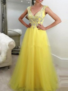 Yellow Sequin Glitter Grenadine V-neck Sleeveless Elegant Maxi Dress