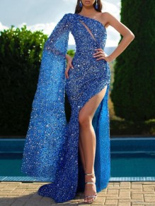 Blue Sequin Cut Out Asymmetric Shoulder Flowy One Sleeve Slit Glitter Sparkly Birthday Party Prom Maxi Dress