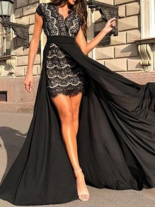 Black Patchwork Lace Grenadine Side Slit Banquet Birthday Party Prom Maxi Dress With Maxi Overlay