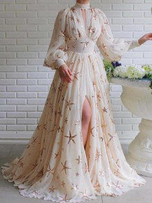 White Starry Sequin Print Grenadine Band Collar V-neck Long Sleeve Slit Mermaid Glitter Sparkly Prom Maxi Dress