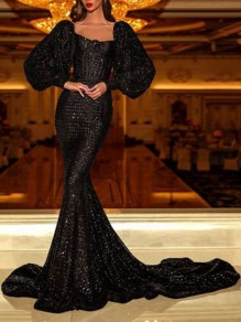 Black Sequin Square Neck Long Puff Sleeve Mermaid Glitter Sparkly Prom Maxi Dress