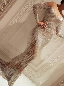 Robe longue gland grenadine sirène bedazzled scintillant nye banquet party argent