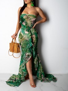 Green Palm Leaf Print Bandeau Grenadine Ruffle Slit Flowy Havana Nights Theme Maxi Dress