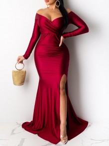 Red V-neck Long Sleeve Off Shoulder Slit Mermaid Prom Maxi Dress