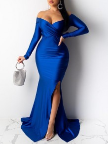 Blue V-neck Long Sleeve Off Shoulder Slit Mermaid Prom Maxi Dress