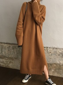 Robe longue fente oversize col montant manches longues mode camel
