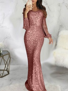 Pink Patchwork Sparkly Sequin Bodycon V-neck Long Sleeve Elegant Maxi Dress