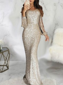 Silver Patchwork Sparkly Sequin Bodycon V-neck Long Sleeve Elegant Maxi Dress