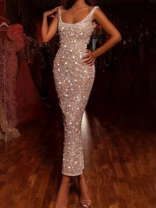 Champagne Sequin Square Neck Backless Bodycon Sparkly Banquet Party Maxi Dress