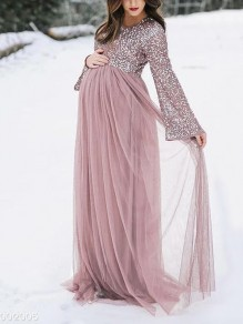 Pink Patchwork Sequin Grenadine Round Neck Long Sleeve Tulle Tutu For Babyshower Maxi Maternity Dresses