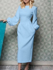 Light Blue Pockets Round Neck Lantern Sleeve Work Maxi Dress